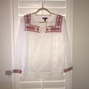 Jcrew White top with red embroidery, size small